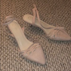 Size 10 kitten heal pale pink shoes